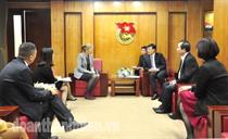 Ban Bí thư Trung ương Đoàn tiếp bà Astrid Bant – Trưởng đại diện Quỹ dân số Liên hiệp quốc (UNFPA) tại Việt Nam