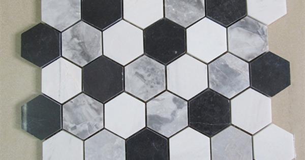 Milky White Black Grey Hexagon Marble Mosaic Tile Product