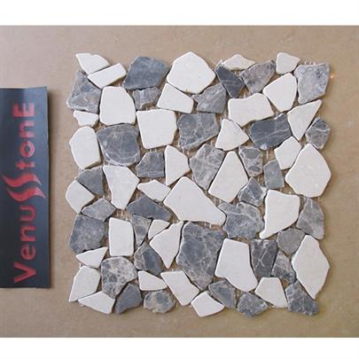 Cream Marfil Dark Emperdor Crazy In Cut Mosaic Tile