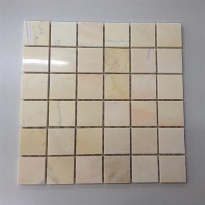 WOODEN YELLOW SQUARE MARBLE MOSAIC TILE