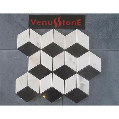 MILK WHITE AND BLACK MARBLE CUBE MOSAIC TILE