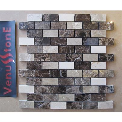 DARK EMPERADOR MIX MARBLE BRICK MOSAIC TILE