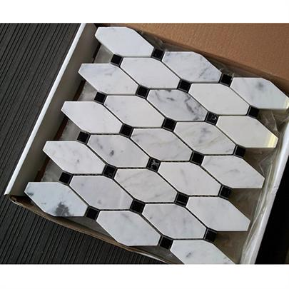 BIANCO CARRARA WHITE MARBLE DIAMOND MOSAIC TILE