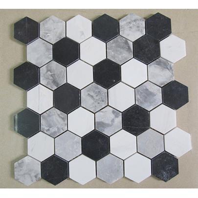 MILKY WHITE BLACK GREY HEXAGON MARBLE MOSAIC TILE